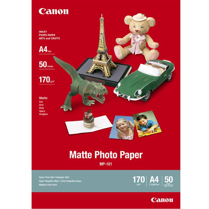 Canon MP-101 170/A4/50л Matte Photo Paper (7981A005)7981A005Матовая фотобумага Canon MP-101 A4 Matte Photo Paper обеспечивает высококачественную печать фотографий, графики и текста с матовым покрытием. Также может использоваться для решения творческих задач, например, для создания поздравительных открыток и объявлений.