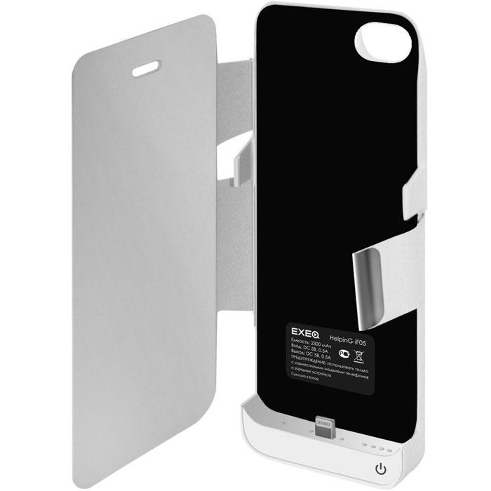 EXEQ HelpinG-iF05 чехол-аккумулятор для iPhone 5/5s/5c, White (2300 мАч, флип-кейс)HelpinG-iF05 WHСтильный дизайн Exeq HelpinG-iF05 не только прекрасно подойдет к дизайну вашего любимого смартфона, но надежно защитит его от загрязнений, царапин и ударов даже во время самой активной эксплуатации. Встроенный аккумулятор чехла обеспечит своевременную подзарядку смартфона и позволит продлить часы его работы как минимум в два раза – еще больше разговоров, интернет-серфинга, любимой музыки на Вашем iPhone! Для удобного просмотра видео, чтения электронных книг чехол Exeq HelpinG-iF05 оборудован встроенной подставкой, которая позволит надежно закрепить телефон в горизонтальном положении. Заряжается чехол-аккумулятор Exeq HelpinG-iF05 от зарядного устройства телефона, причем заряжать оба устройства можно не извлекая телефон из чехла. Так для зарядки телефона просто подсоедините зарядное устройства к чехлу и нажмите кнопку питания на чехле, а для зарядки чехла просто подсоедините зарядное устройство к нему. Аналогично происходит и подключение телефона к компьютеру – чехол-аккумулятор Exeq HelpinG обеспечивает идеальную передачу данных между смартфоном и другими электронными устройствами.