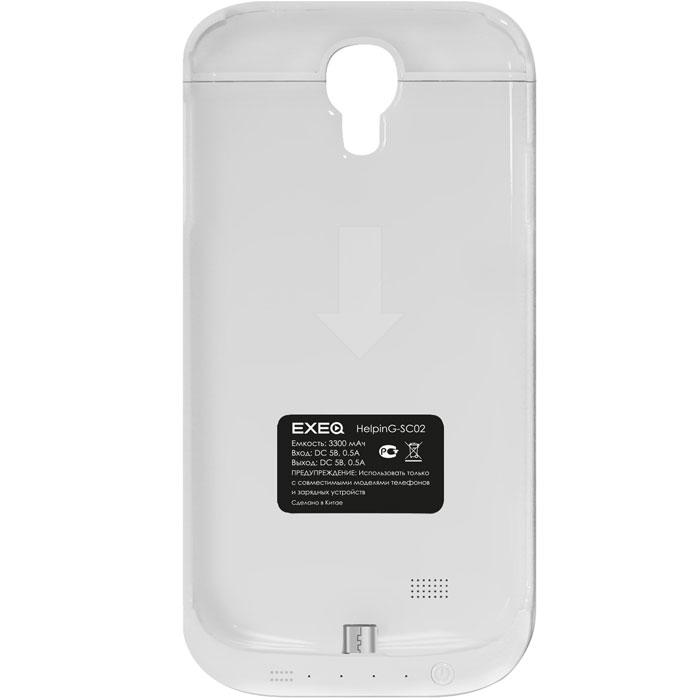 EXEQ HelpinG-SC02 чехол-аккумулятор для Samsung Galaxy S4, White (3300 мАч, клип-кейс)HelpinG-SC02 WHExeq HelpinG-SС02 – компактный и элегантный аксессуар, удачно сочетающий в себе защитный чехол и дополнительную батарею для Samsung Galaxy S4. Лаконичный дизайн чехла позволит легко и быстро поместить смартфон в чехол, а также надежно защитить заднюю панель смартфона от царапин, загрязнений и ударов. Встроенный аккумулятор обеспечит своевременную подзарядку вашему смартфону. Также в конструкции Exeq HelpinG-SС02 имеется специальная откидывающаяся подставка-ножка, которая позволит удобно расположить телефон для просмотра фильма, чтения или набора текста или видео-общения по Skype.Зарядка чехла-аккумулятора Exeq HelpinG-SС02 происходит от зарядного устройства телефона, причем заряжать оба устройства можно не извлекая телефон из чехла. Так для зарядки телефона необходимо подсоединить зарядное устройства к чехлу и нажать кнопку питания на чехле, а для зарядки чехла необходимо просто подсоединить зарядное устройство - и зарядка начнется автоматически. Аналогично происходит и подключение телефона к компьютеру – чехол-аккумулятор Exeq HelpinG обеспечивает идеальную передачу данных между смартфоном и другими электронными устройствами.