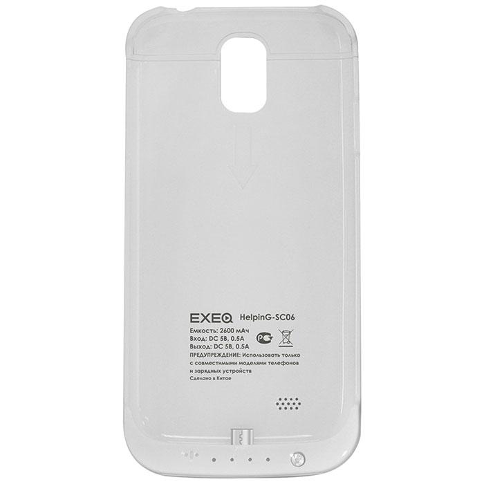 EXEQ HelpinG-SC06 чехол-аккумулятор для Samsung Galaxy S4, White (2600 мАч, клип-кейс)HelpinG-SC06 WHExeq HelpinG-SС06 – универсальный аксессуар, благодаря которому ваш смартфон не только будет надежно защищен, но обеспечен своевременной подзарядкой! Exeq HelpinG-SС06 выполнен из прочного прорезиненного пластика, который надежно защитит смартфон от ударов, царапин и загрязнений. Встроенный аккумуляторобеспечит подзарядку батареи смартфона в самые нужные моменты его использования.В качестве приятного дополнения Exeq HelpinG-SС06 имеет откидывающуюся подставку. Специальная конструкция чехла с выдвижной верхней частью позволит удобно и надежно поместить телефон в чехол, а при необходимости легко и быстро достать телефон из чехла. Хотя извлекать телефон из надежного Exeq HelpinG-SС06 вам вряд ли понадобится – заряжать телефон можно непосредственно в чехле, подключив к нему зарядное устройство телефона и нажав кнопку питания на чехле. Если кнопку питания не нажимать, то будет происходить зарядка чехла-аккумулятора. Аналогично происходит и подключение телефона к компьютеру – чехол-аккумулятор обеспечивает идеальную передачу данных между смартфоном и другими электронными устройствами.