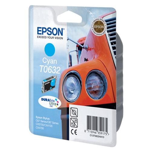 Epson T0632 (C13T06324A10), Cyan картридж для C67/C87/CX3700/CX4100/CX4700C13T06324A10Картридж Epson T063 с цветными чернилами для струйной печати.