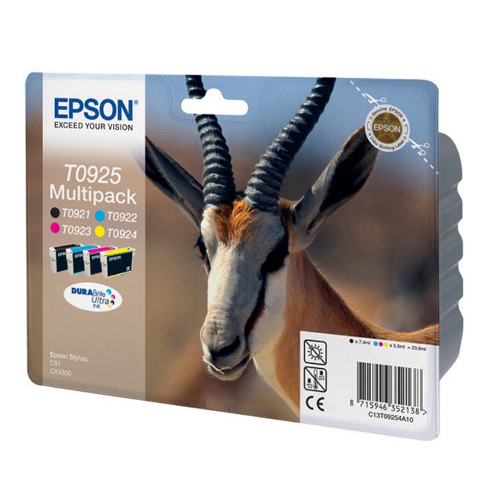 Epson T0925 Multipack (C13T10854A10) набор картриджей для Stylus C91, CX4300C13T10854A10Экономичная упаковка, содержащая полный набор картриджей для цветных принтеров Epson (Голубой, Пурпурный, Желтый, Черный).