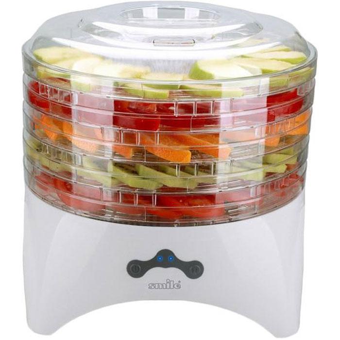 Smile FD 993 сушилка для овощей и фруктовFD 993Сушка продуктов в электросушилках - лучший способ сохранения витаминов и питательных веществ в овощах и фруктах на весь год. Электросушилка Smile FD 993 изготовлена из прочного пластика и предназначена для сушки овощей, грибов и трав в домашних условиях. Встроенный вентилятор обеспечивает равномерную сушку продуктов. Возможна регулировка расстояния между поддонами. Прозрачные поддоны позволяют контролировать процесс высушивания продуктов. Глубина поддона: 1,5 см