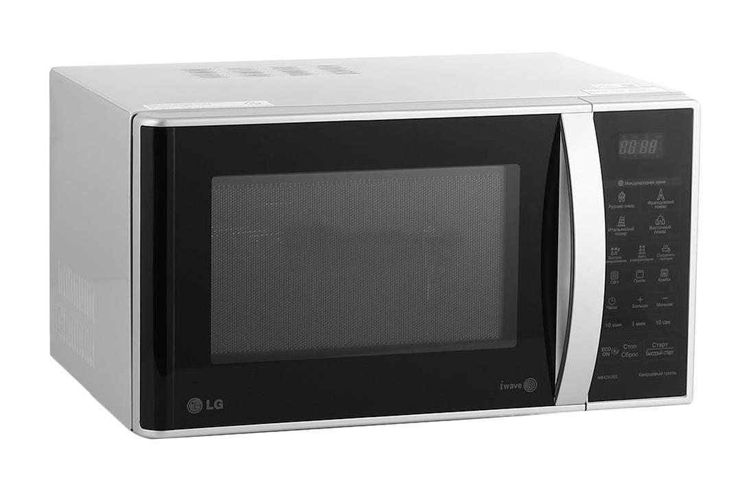 LG MB4342BS СВЧ-печьMB-4342BSСтильная микроволновая печь с электронным управлением, возможностью приготовления на гриле, технологией эффективного распределения микроволн LG I-wave и автоматическими программами приготовления Кухни мира Кварцевый гриль Кварцевый гриль обеспечивает равномерное обжаривание и запекание, делая готовку более быстрой. Он обладает более высокой мощностью по сравнению с обычными тэновыми нагревательными элементами. Легкоочищаемое покрытие LG EasyСlean Специальное легкоочищаемое покрытие LG EasyСlean внутренней камеры печи очищается от жира значительно быстрее и легче, по сравнению с обычным покрытием. Более того, компания LG предоставляет 10 лет гарантии на это покрытие. Технология I-wave Благодаря технологии I-wave микроволны в печи распространяются по спирали, обеспечивая глубокое и равномерное проникновение тепла как по центру, так и по краям блюд. Особая конструкция внутренней стенки помогает волнам распространятся по...