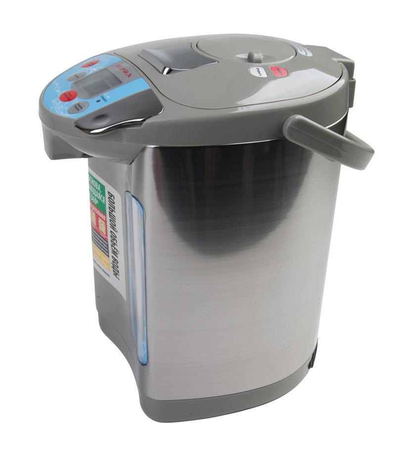 Supra TPS-3016 термопотTPS-3016Внутренний резервуар термопота Supra TPS-3016 сделан из нержавеющей стали. В приборе есть индикаторы кипячения, поддержания температуры. Когда прибор включен, после кипячения воды, он переключается в режим поддержания температуры воды в резервуаре. Очень удобно, если вы собираетесь на пикник или в загородный дом.