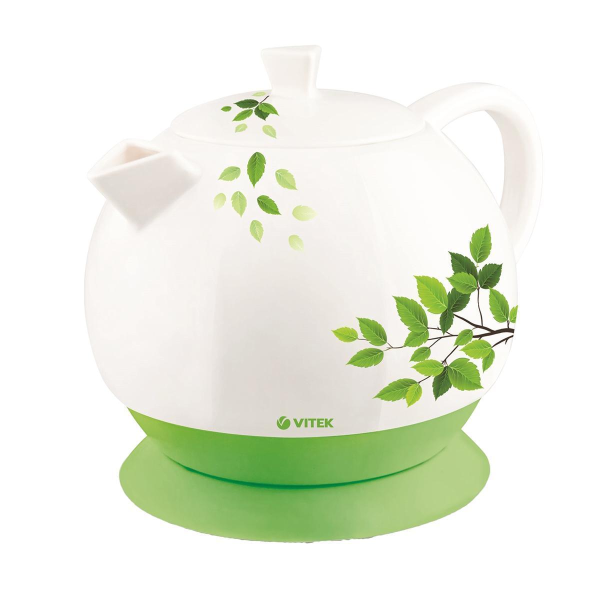 Vitek VT-1171 (W) электрочайникVT-1171 (W)Электрический чайник VT-1171 W будет круглый год напоминать о весне: оригинальный дизайн и орнамент из листьев поднимут настроение вам и вашим гостям. Корпус чайника выполнен из одного из самых экологичных материалов – керамики, которая позволит сохранить все полезные свойства воды, а напиткам приобрести особый вкус. При объеме 1,3 литра чайник обладает мощностью 2800 Вт, что позволяет быстро вскипятить воду. Этот оригинальный чайник оснащен скрытым нагревательным элементом, что обеспечит безопасность использования и легкий уход за прибором. Нагревательный элемент покрыт нержавеющей сталью, что также позволит сохранить качество воды. Использование чайника особенно комфортно благодаря индикатору уровня воды – он обеспечивает более точное и простое отмеривание жидкости. Индикатор включения позволит визуально контролировать процесс начала и окончания работы прибора. Безопасность чайнику обеспечат блокировка включения без воды и блокировка крышки.