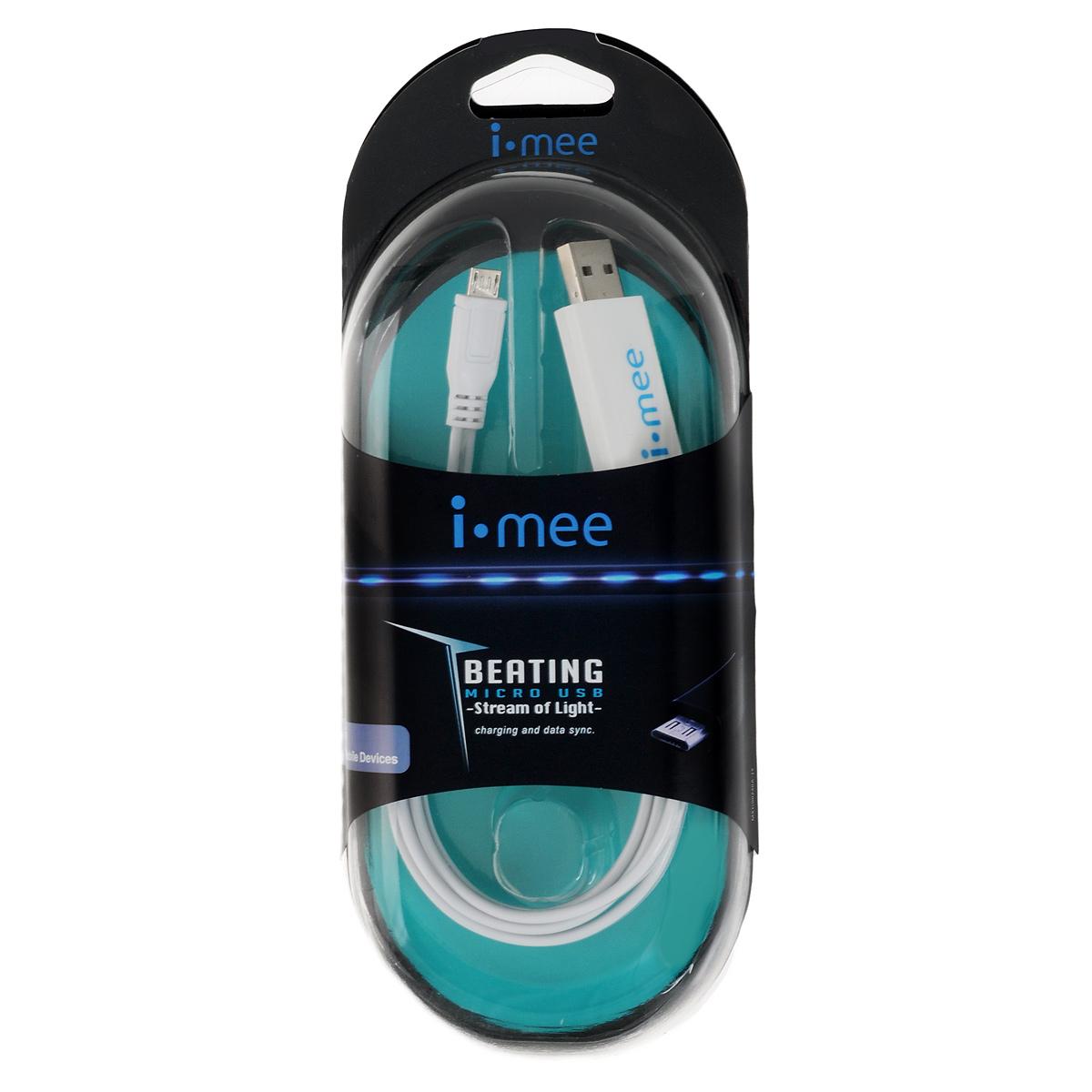 i-Mee Beating кабель для Micro USB, White21163i-Mee Beating - MicroUSB кабель для зарядки Вашего коммуникатора. Эффектная неоновая подсветка внутри кабеля не только завораживает Ваш взгляд, но и информирует о состоянии зарядки аккумулятора. Также Вы можете использовать этот кабель и для синхронизации.