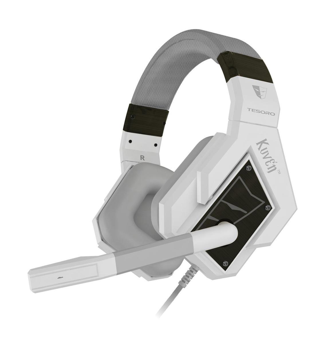 Tesoro Kuven 7.1 Angel TS-A1, White проводная гарнитураKuven 7.1 Angel TS-A1 WhiteПрофессиональная игровая гарнитура Tesoro Kuven 7.1 - это результат долгих исследований геймерских пристрастий и требований. Они совмещают в себе всё необходимое: виртуализированный звук 7.1, мощные 50-мм динамики, закрытые чашки со съёмными шумопоглощающими амбушюрами, контроллер звука, высококачественный микрофон и стильный внешний вид.Данная модель обладает чистейшим звучанием и обеспечивают превосходную слышимость во время игры. Благодаря продвинутой технологии виртуализации объёмного звука, вы сможете быть готовым к столкновению с самым осторожным противником, потому что будете слышать его задолго до того, как он сможет вас увидеть.Благодаря виртуализированному звуку 7.1 вы сможете точно определять местоположение ваших противников и составлять наиболее полную картину боя.50-мм динамики обеспечивают мощное, чистое звучание, благодаря которому погружение в игру будет максимально глубоким. Закрытый тип наушников и плотные амбушюры позволят сосредоточиться на игре и не позволят внешним шумам отвлекать вас от игры. Держатели динамиков свободно вращаются, что позволяет амбушюрам плотно прилегать к голове и обеспечивает максимальный комфорт.Наушники оборудованы пультом управления, который позволяет регулировать громкость и отключать микрофон.Гарнитуру можно подключить через USB, стандартные 3,5-мм разъемы или через один универсальный мини-джек.