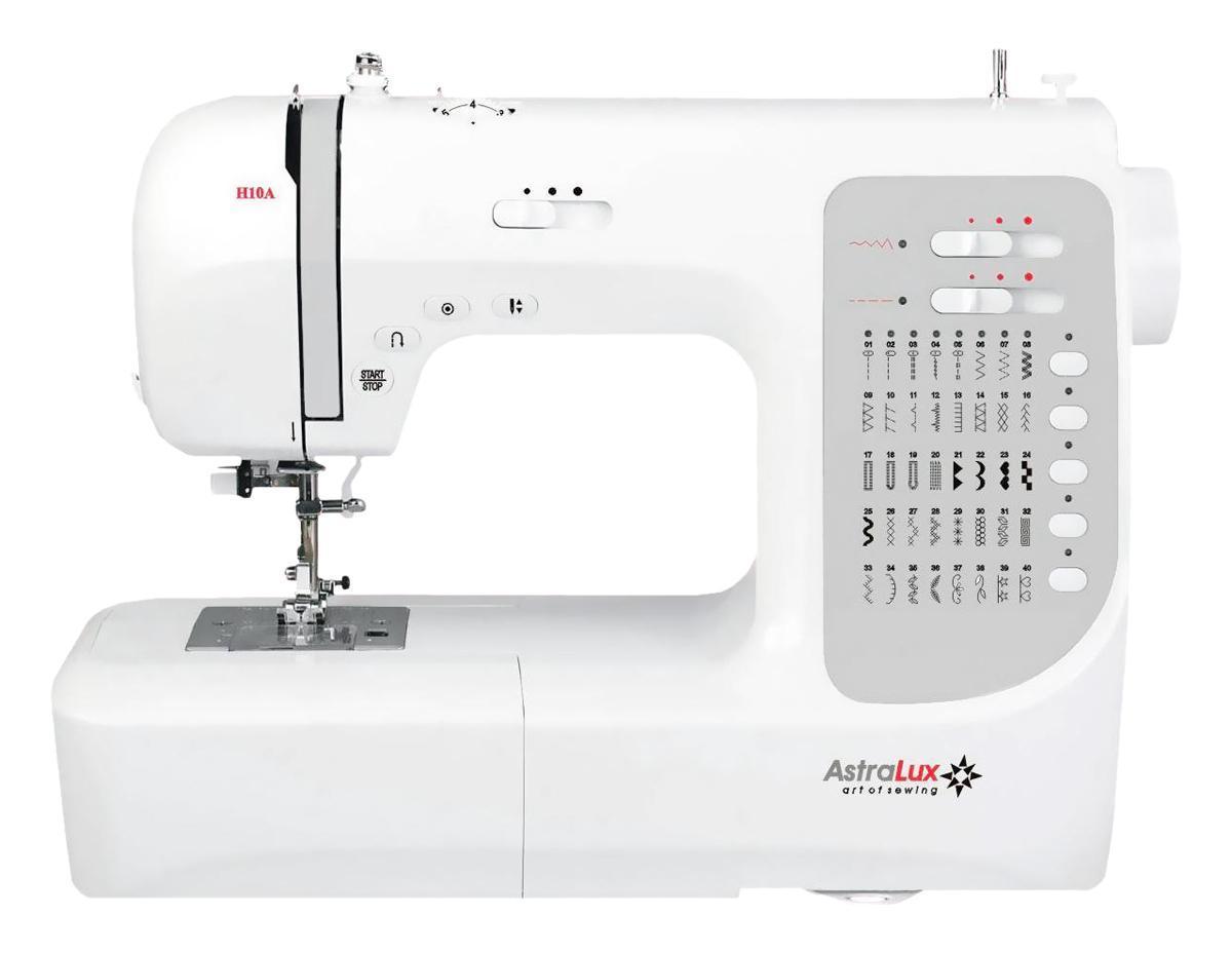 Astralux H10A швейная машинкаH10AТеперь Вам доступны такие возможности как: рабочие операции, эластичные cтрочки для трикотажных тканей, декоративные и оверлочные строчки, тайная подшивка низа, квилтинг и пэтчворк, штопка, выполнение монограмм, аппликаций, вышивки, художественная отделка ваших изделий,ремонтные работы и т.п. Шить на такой машине одно удовольствие! Ваши фантазия и умение, в сочетании с такой машиной – великолепные возможности для творчества!