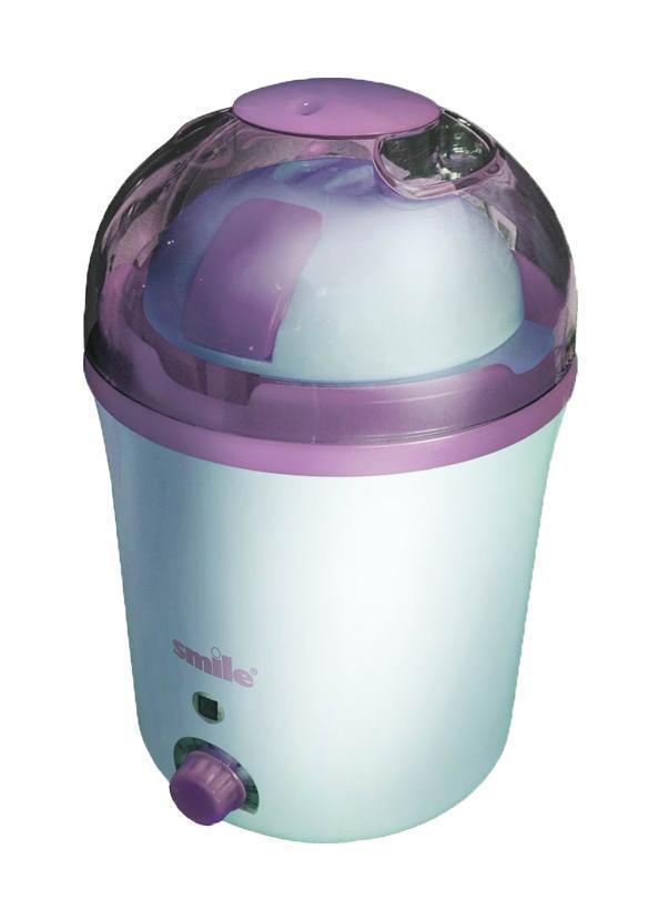 Smile MK 3001 молочная кухняMK 3001Йогуртница Smile MK 3001 предназначена для приготовления вкусных йогуртов, кефира, а также других кисломолочных продуктов прямо у себя дома. Достаточно залить пастеризованное или топленое молоко в емкость для приготовления, добавить также для закваски нужный кисломолочный продукт и выставить таймер. За один раз можно приготовить до 1 литра йогурта.Густоту продукта можно регулировать с помощью таймера — достаточно увеличить время приготовления. В комплекте с этим устройством предоставляется специальная ложка для йогурта, а также детальная инструкция по применению этой модели. Множество популярных интернет-магазинов нашей страны дают возможность потребителю купить разнообразную продукцию компании Смайл, в частности и модель MK 3001.