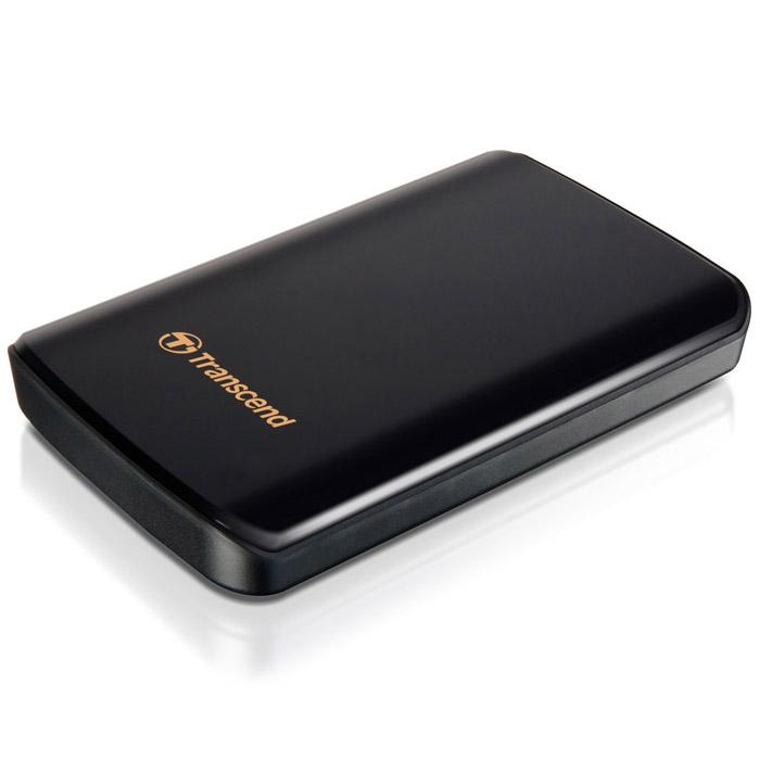 Transcend StoreJet 25D3 1TB, Black внешний жесткий диск (TS1TSJ25D3)TS1TSJ25D3Одно из первых периферийных устройств, совместимых с USB 3.0 - это 2,5-дюймовый ударопрочный портативный жесткий диск Transcend StoreJet 25D3. Модель SuperSpeed USB 3.0 отличается более высокой производительностью, чем внешние жесткие диски с интерфейсом USB 2.0. Скорость передачи данных в реальных условиях достигает 90 МБ/с. StoreJet 25D3 представляет собой высокоскоростное и долговечное решение для работы со сложными современными устройствами благодаря повышенной скорости передачи данных и усовершенствованной конструкции. StoreJet 25D3 обратно совместим с интерфейсом USB 2.0, что дает возможность пользователям получить доступ к файлам практически с любого компьютера. Благодаря многоцветному светодиодному индикатору USB 3.0/2.0 можно с легкостью определить тип текущего соединения накопителя. При подключении по USB 2.0 индикатор будет оранжевым, при подключении по USB 3.0 индикатор будет синим. Под внешне хрупким корпусом с блестящим покрытием находится...