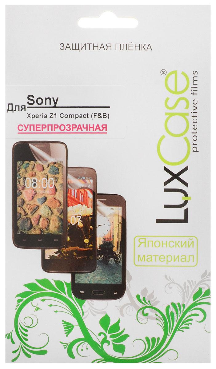 Luxcase защитная пленка для Sony Xperia Z1 Compact (Front & Back), суперпрозрачная80949Защитная пленка для Sony Xperia Z1 Compact (антибликовая или суперпрозрачная) имеет два защитных слоя, которые снимаются во время наклеивания. Данная защитная пленка подходит как для резистивных, так и для емкостных экранов, не снижает чувствительности на нажатие. На защитной пленке есть все технологические отверстия под камеру, кнопки и вырезы под особенности экрана. Благодаря использованию высококачественного японского материала пленка легко наклеивается, плотно прилегает, имеет высокую прозрачность и устойчивость к механическим воздействиям. Потребительские свойства и эргономика сенсорного экрана при этом не ухудшаются.