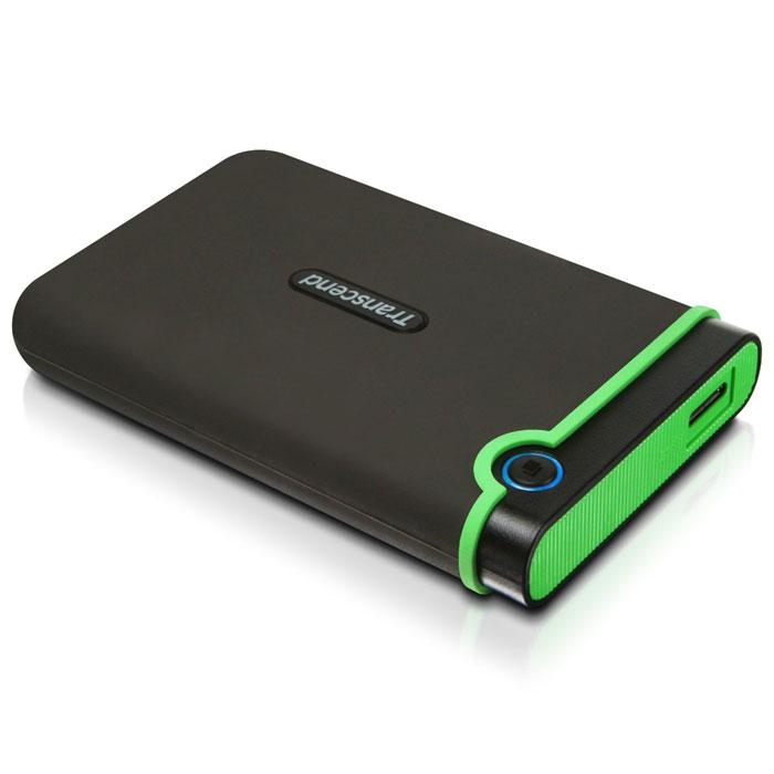 Transcend StoreJet 25M3 2TB, Iron Gray внешний жесткий диск (TS2TSJ25M3)TS2TSJ25M3Портативное устройство Transcend StoreJet 25M3 сочетает в себе преимущества награжденной ударопрочной серии внешних жестких дисков StoreJet М компании Transcend и новейшей технологии сверхскоростной передачи информации SuperSpeed USB 3.0, что обеспечит максимальную скорость передачи данных и необычайную ударопрочность устройства для пользователя. Кроме всех вышеперечисленных достоинств, StoreJet 25M3 оснащен кнопкой мгновенного резервного копирования. Теперь вы можете выполнить моментальное резервное копирование, синхронизацию и копирование больших файлов без потери вашего времени. Произведен с применением технологии высокоскоростного USB 3.0 и совместим с USB 2.0 с обратной стороны устройства Износостойкий ударопоглощающий внешний резиновый кейс Улучшения система внутреннее защитной подвески жесткого диска Простота в работе в режиме Plug and Play , без необходимости драйверов Питание от USB - нет необходимости во внешнем адапторе ...