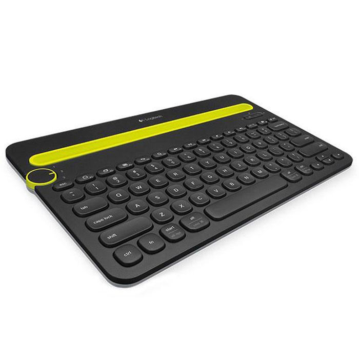 Logitech Bluetooth Multi-Device Keyboard K480 (920-006368) клавиатура920-006368Bluetooth Multi-Device Keyboard K480 беспроводная настольная клавиатура для компьютера, планшета и смартфона. Просто поверните диск Easy-Switch, чтобы выбрать для ввода текста одно из трех подключенных беспроводных устройств Bluetooth. Встроенная подставка удерживает телефон или планшет под нужным углом, чтобы вам было удобно читать текст на экране во время набора.