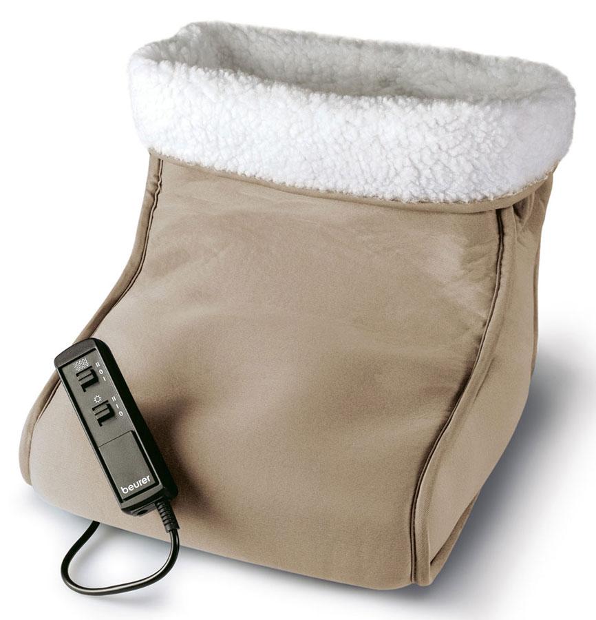 Электрогрелка для ног Beurer FWM401092028Электрическая грелка выполнена в виде большого сапога. Удобная форма грелки позволяет одевать ее сразу на две ноги. К тому главным преимуществом Beurer FWM40 является наличие функции массажа. Сочетание согревающего эффекта и вибрационного массажа способно творить чудеса. Прекрасное самочувствие и бодрость духа после нескольких минут таких процедур вам обеспеченны. Для обеспечения результативного массажа следует включить «сапог» как минимум за 15-20 минут до начала сеанса теплотерапии. Съемная, стирающаяся плюшевая подкладка Две ступени массажа: успокаивающий и освежающий массаж Вибрационный массаж Тепло и массаж можно применять и независимо друг от друга Система защиты от перегрева BSS