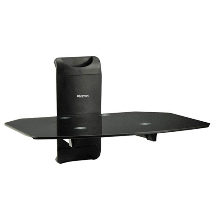 Kromax X-Mono, Black настенный кронштейн для A/V системX-MONOНастенный кронштейн Kromax X-Mono со стеклянной полкой для размещения аудио-видеотехники. Закаленное стекло толщиной 5 мм выдерживает максимальную нагрузку до 8 кг. Идеально подходит для размещения компонентов домашнего кинотеатра или другой Hi-Fi техники. Стильный дизайн. Простая конструкция. Возможностью скрытой укладки соединительных проводов.