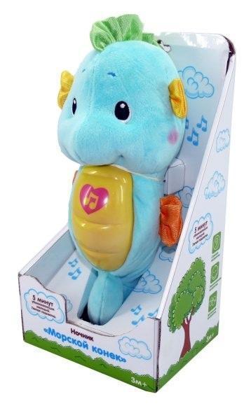 Жирафики Ночник морской конек муз.,подсветка, голубой, элементы питания входят в комплектМорской конек голубой