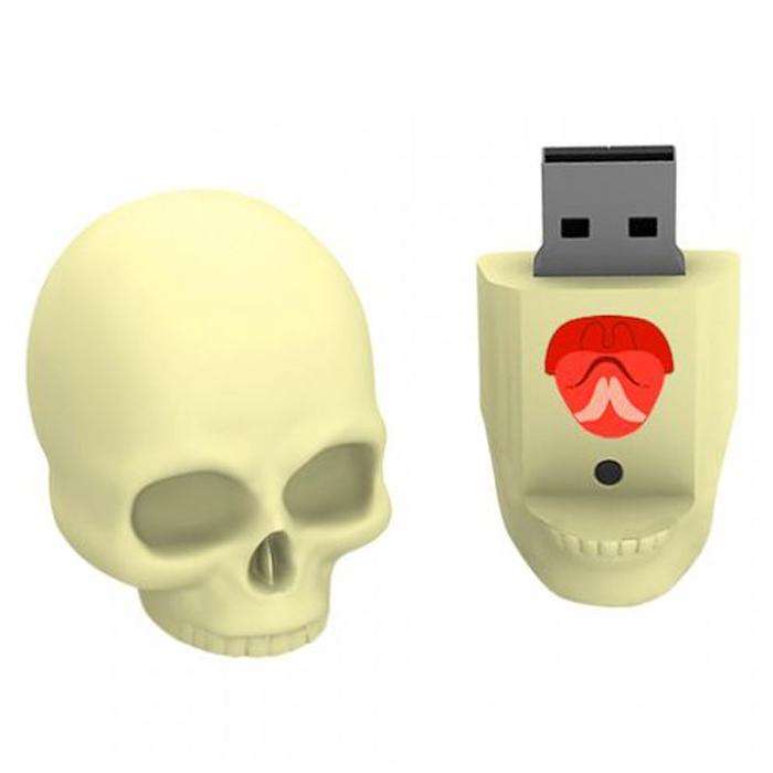Iconik Череп 8GB USB-накопительRB-SСULL-8GBIconik Череп - оригинальный USB-накопитель в форме черепа. Модель выполнена из резины и состоит из двух частей: в нижней челюсти встроена флешка, а череп служит защитным колпачком. Ударопрочный резиновый корпус надежно защищает коннектор от повреждений, влаги и загрязнений. Благодаря предусмотренному отверстию, накопитель можно закрепить на шнурке и использовать как аксессуар.
