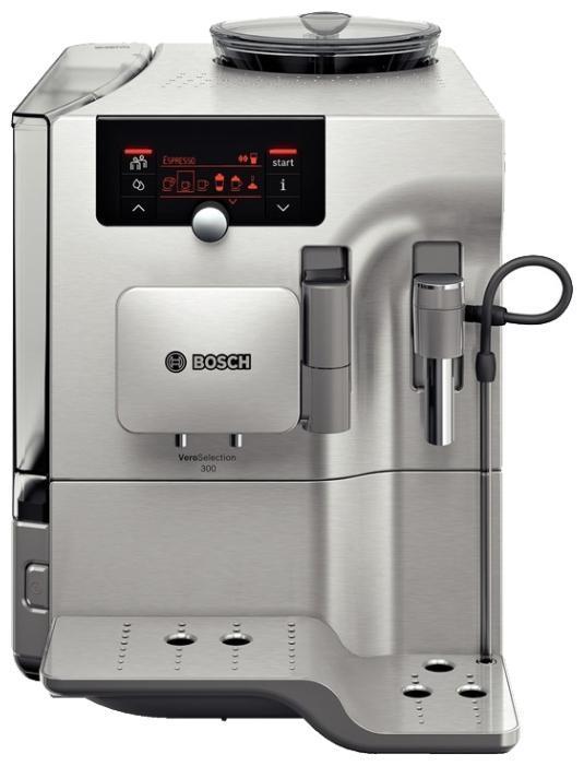 Bosch TES80323RW VeroSelection кофемашинаTES80323RWАвтоматический капучинатор, автовыключение, встроенная кофемолка, возможность работы с молотым кофе, дисплей, двухпорционная раздача за один процесс заваривания, индикатор уровня воды, индикатор включения, подача горячей воды, контейнер для отходов, программа удаления накипи, подогрев для чашек, регулировка по высоте узла выдачи кофе, программируем, регулировка температуры, регулировка степени помола, регулятор крепости, регулятор количества воды, фильтр, съемный лоток для сбора капель, энергосберегающий режим, электронное управление. Выбор напитков: ристретто, эспрессо, кафе крема, эспрессо макиато, капучино, латте макиато, кафе латте, молочная пенка, теплое молоко, горячая вода.