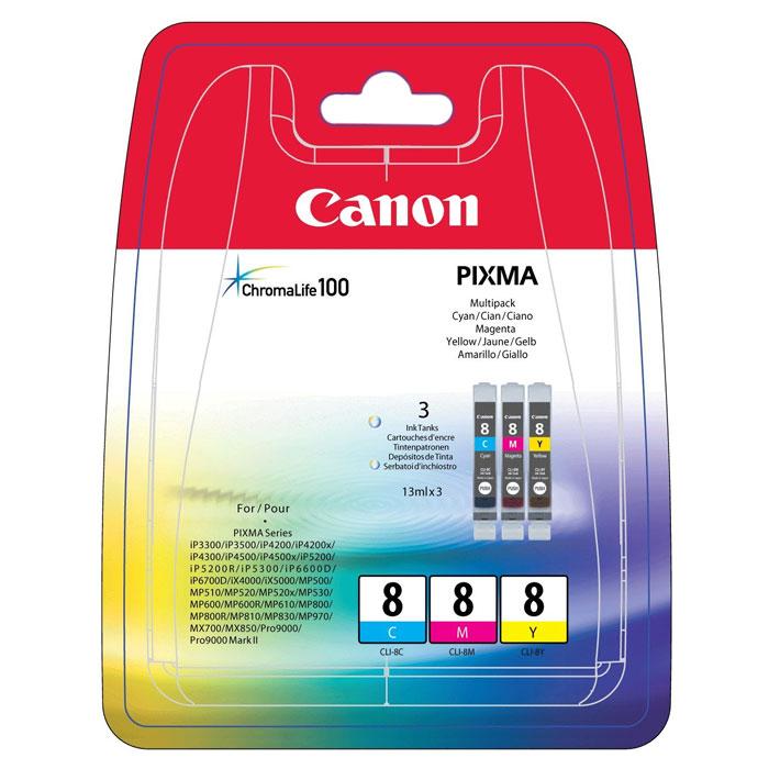 Canon CLI-8 Multipack набор картриджей (C/M/Y) для струйных МФУ/принтеров0621B029Набор из трех картриджей Canon CLI-8 Multipack для струйных принтеров и МФУ Canon. Цвета: Cyan (голубой), Magenta (пурпурный), Yellow (желтый) Формат бумаги: 10x15 см Совместимость: Pixma iP3300, iP3500, iP4200, iP4300, iP4500, iP5200, iP5300, MP500, MP520, MP800, MP830, MP530, MP510, MP600, MP610, MP810, MP470, MX850, MX700, iX5000, iX4000, iP6600D, iP6700D, MP970, Pixma Pro9000, Pixma Pro9000 Mark II