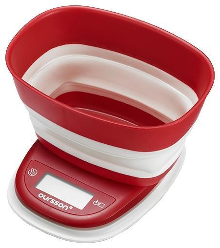 Oursson KS5006PD, Red кухонные весыKS5006PD RedКухонные электронные весы с чашей для взвешивания различных продуктов весом от 2 граммов до 5 килограмм идеально подойдут для любой кухни. Особенности конструкции: складывающаяся чаша, позволяют хранить весы в любом небольшом кухонном шкафчике. Модель представлена в двух цветах: в красном и d оранжевом.