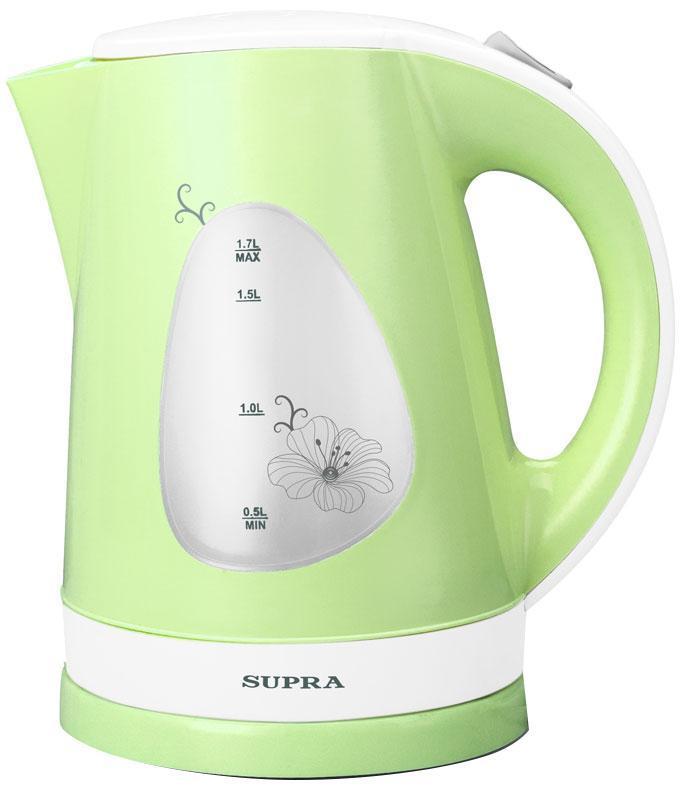 Supra KES-1708, Green электрический чайникKES-1708 GreenЭлектрочайник Supra KES-1708 - это простая и недорогая модель, созданная для быстрого кипячения воды. За один подход в нем можно вскипятить до 1.7 л воды - кипятка хватит на приготовление горячих напитков для всех членов семьи. Благодаря высокой мощности вода в чайнике закипает за считанные минуты. С индикатором уровня вы легко определите количество налитой жидкости, не заглядывая под крышку. Корпус прибора изготовлен из качественного термоустойчивого пластика, что делает его легким и удобным в использовании. Нагревательный элемент выполнен в виде спирали и скрыт под диском из нержавеющей стали, что защищает его от накипи. Чайник Supra KES1708 автоматически отключается при кипении, что дает возможность оставить включенный прибор без присмотра. Внутри корпуса находится фильтр, препятствующий попаданию частиц накипи в вашу кружку.