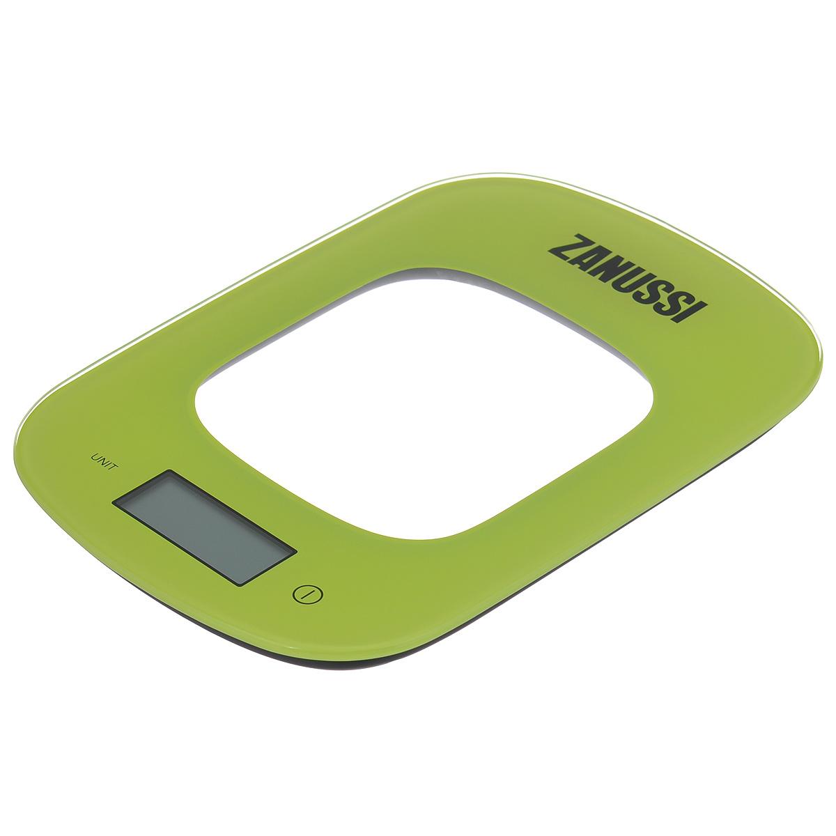 Весы кухонные Zanussi Venezia, электронные, цвет: зеленый, до 5 кгZSE22222DFЭлектронные кухонные весы Zanussi Venezia придутся по душе каждой хозяйке и станут незаменимым аксессуаром на кухне. Ультратонкий корпус весов выполнен из пластика с цифровым ЖК-дисплеем. Весы выдерживают до 5 килограмм и оснащены высокоточной сенсорной измерительной системой. Имеется индикатор низкого заряда батареи. С помощью таких электронных весов можно точно контролировать пропорции ингредиентов. УВАЖАЕМЫЕ КЛИЕНТЫ! Обращаем ваше внимание, что весы работают от одной литиевой батарейки CR2032 напряжением 3V (входит в комплект).
