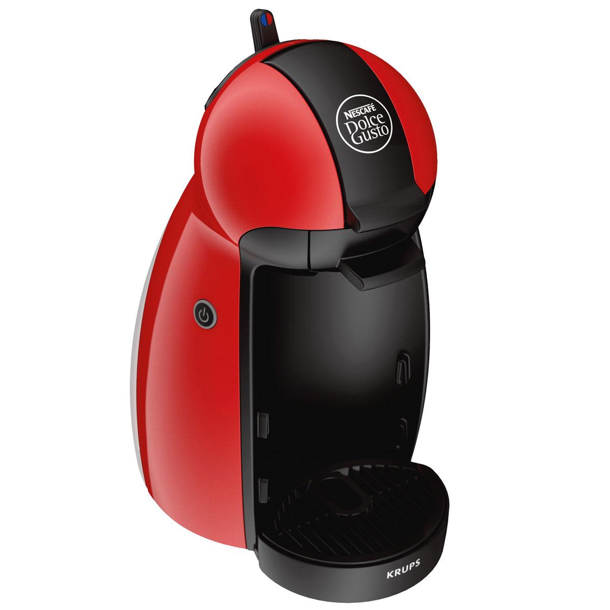 Кофемашина NESCAFE Dolce Gusto Krups KP1006 Piccolo краснаяKP1006E1Капсульная кофемашина NESCAFE Dolce Gusto (Дольче Густо) Piccolo - это уникальная система автоматического приготовления кофе, других горячих и холодных напитков с использованием капсул.Данная кофемашина гарантирует простоту приготовления превосходного натурального молотого кофе. Более 20 вкусов на Ваш выбор: эспрессо, лунго, капучино, латте макиато, чокочино, шоколад Несквик, чай и многое другое.Технология дозирования напитка - механическая (ручная).Капсульная система NESCAFE Dolce Gusto - это инновационная система приготовления кофе высокого качества, специально разработанная для ее использования в домашних условиях. Герметичные капсулы оптимизируют давление воды для каждого вида кофе. Кофемашина NESCAFE Dolce Gusto использует профессиональное давление в 15 бар, что каждый раз гарантирует идеальный вкус и качество кофе. Просто вставьте капсулу, поверните рычаг, и система сама приготовит напиток по эталонному рецепту.Мощность: 1500 ВтРегулируемая по высоте подставка для чашекВозможность приготовления молочных напитковСистема нагрева: термоблокПереключение подачи воды: горячая/холодная (возможность получения горячих и холодных напитков)Тип управления: механический (ручной)Энергосбережение: автоотключение через 5 минут