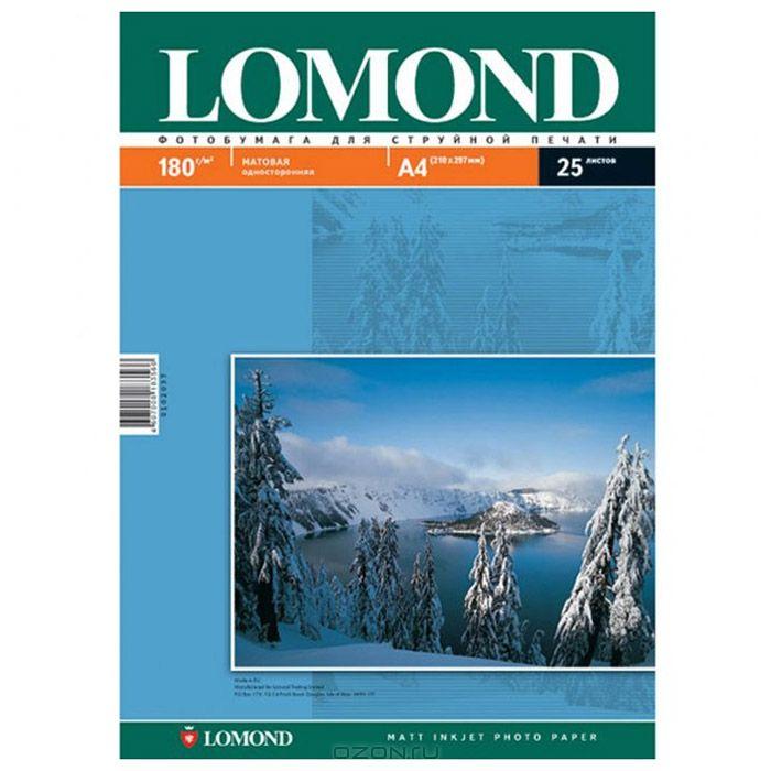 Lomond 180/A4/50л, матовая односторонняя фотобумага для струйной печати (0102014)0102014Размер: 210 х 297 мм Основа: RC (Resin Coated) Тип покрытия: Ink Jet Coated