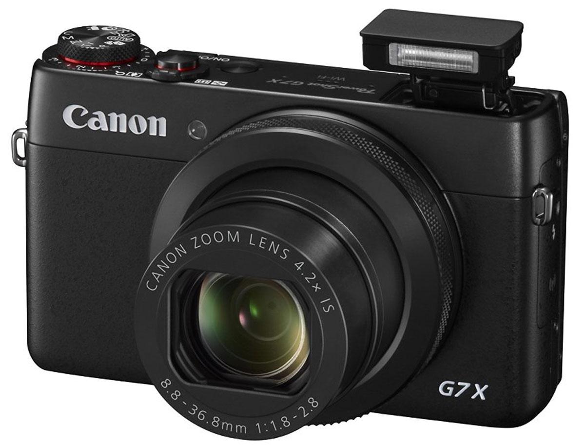 Canon PowerShot G7x цифровая фотокамера9546B002Canon PowerShot G7x была создана специально для тех, кому требуется бескомпромиссное качество изображения и точное управление съемкой в миниатюрной камере. От улучшенного металлического корпуса до впечатляющего качества результатов, — все это обеспечивает ДНК первоклассных камер серии Canon G. Добивайтесь красивого размытия заднего плана и превосходной детализации с помощью зум-объектива со светосилой f/1.8-2.8 и датчиком типа 1.0 Великолепные снимки в условиях слабого освещения с системой HS и процессором DIGIC 6. Высокая детализация даже в самых сложных условиях благодаря объективу со светосилой f/1.8-2.8, который пропускает большое количество света к датчику изображения. Оптический зум 4.2x (24–100 мм) делает его идеальным как для широкоугольной фотосъемки, так и для приближения к объектам съемки. Снимайте потрясающие портреты с красивой перспективой и размытием заднего плана с помощью широкой диафрагмы при максимальном приближении. В PowerShot G7 X...