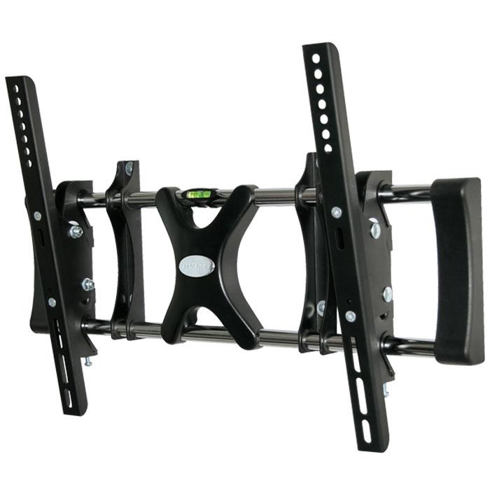 Tuarex Olimp-8004, Black настенный кронштейн для ТВ198700Кронштейн Tuarex Olimp-8004 имеет уникальную запатентованную систему управления наклоном, наклонить или приподнять монитор не составит особого труда легким движением рук. Вы поменяете положение экрана всего за несколько секунд. Крепления можно устанавливать на стене выше уровня глаз, так как возможность наклона позволяет менять положение экрана на - 15°. Кронштейн имеет облегченную раму, что позволит в пустотах разместить телевизионные и электрические розетки непосредственно за установленным телевизором.