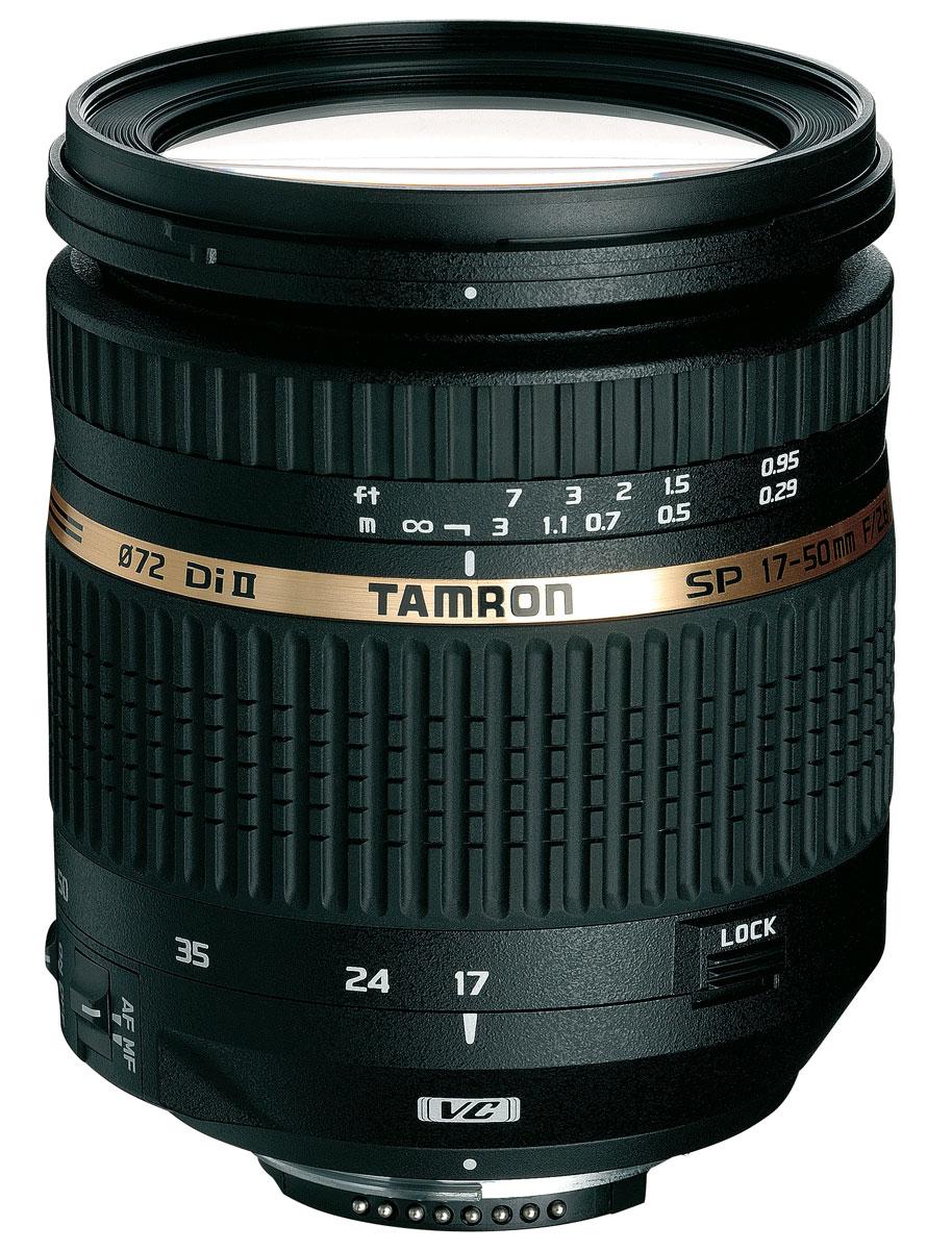 Tamron SP AF 17-50mm F/2.8 XR Di II LD VC Aspherical (IF), CanonB005ETamron SP 17-50mm F/2,8 XR Di II - для цифровых однообъективных зеркальных фотокамер с матрицей формата APS-C. Являясь уникальной инновационной оптической системой, этот компактный, легкий, высокоэффективный стандартный зум-объектив (эквивалентный диапазон фокусных расстояний 26–78 мм) обеспечивает быструю работу диафрагмы F/2,8 во всем своем диапазоне фокусных расстояний, способствуя максимальной гибкости творческого процесса. Для поддержания критически важного уровня контрастности при съемке с рук в нем предусмотрена компенсация вибраций (VC, Vibration Compensation) – новейшая система пространственной стабилизации изображения Tamron. Трехкомпонентные асферические элементы, специальное стекло класса LD и покрытия BBAR (с широкополосным просветлением) обеспечивают превосходную коррекцию, точность воспроизведения цвета и отсутствие бликов. Минимальное фокусное расстояние 0,29 м делает возможным получение восхитительных изображений крупного плана.