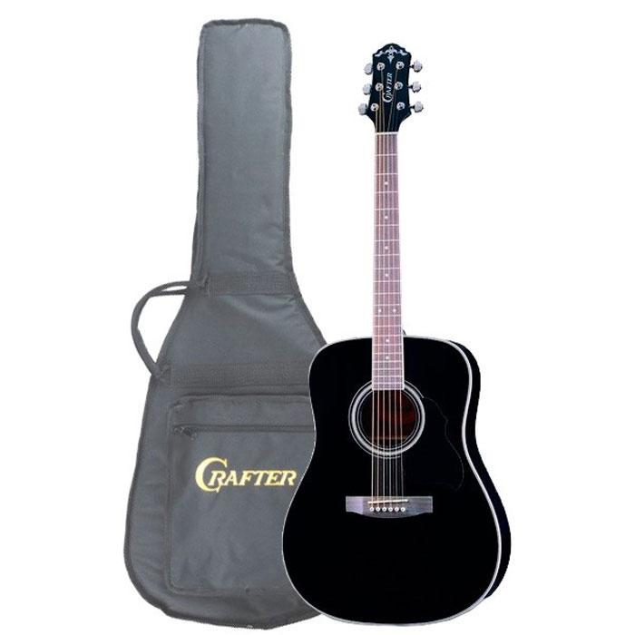 Crafter MD-58/BK, Black акустическая гитара + чехолMD 58/BKАкустическая гитара Crafter MD-58/BK – это модель из, пожалуй, самой популярной серии гитар CRAFTER! Эти инструменты, имеют верхнюю деку из шпона ели, что обеспечивает им значительно более привлекательную стоимость. Не стоит относиться к этому предвзято, правильно сделанная фирменная гитара звучит так же хорошо, а может быть и лучше, чем большинство «ноу-нэйм» инструментов с верхней декой из массива. Более того, шпон гораздо менее капризен и подвержен влиянию влаги и температуры. Нижняя дека и обечайки гитары Crafter MD-58/BK изготовлены из красного дерева, которое не только хорошо сочетается с елью внешне, но и дополняет её яркий прозрачный звук своей теплотой и певучестью. Чёрный цвет никогда не выходит из моды и вместе с прозрачным глянцевым лаком подчёркивает строгий стиль инструмента. Форма корпуса «дредноут» – это, пожалуй, самая популярная форма акустических гитар. Разработанный компанией Martin в 20-х годах прошлого столетия, «дредноут» до...