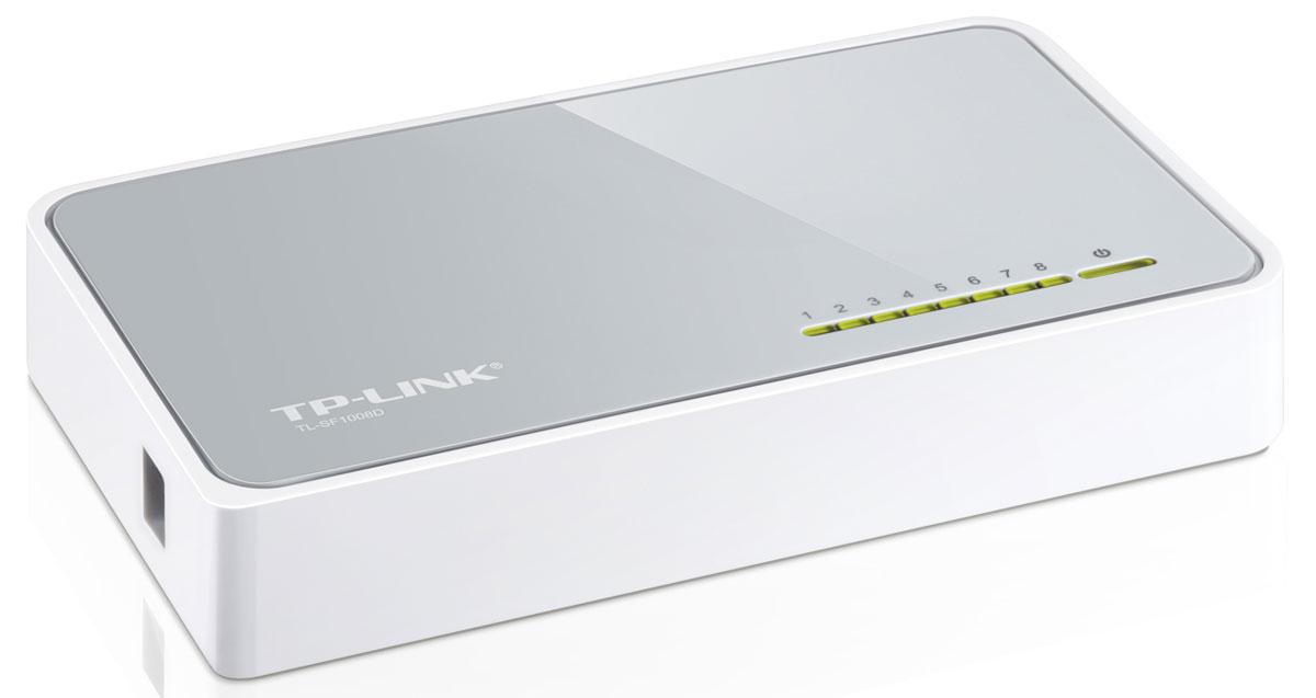 TP-Link TL-SF1008DTL-SF1008DКоммутатор Fast Ethernet TP-Link TL-SF1008D предназначен для использования дома или в небольшом офисе, а также в рабочих группах.Все 8 портов поддерживают технологию авто-MDI/MDIX, не нужно беспокоится о типе кабеля, просто воткните кабель в устройство. Более того, благодаря инновационной энергосберегающей технологии коммутатор TL-SF1008D позволит сберечь до 70%* потребляемой электроэнергии. 80% упаковочного материала может быть использовано вторично. Поэтому коммутатор является экологически-безопасным решением для Вашей деловой сети. Превосходные рабочие характеристики Коммутатор Fast Ethernet TL-SF1008D оснащен 8 портами 10/100 Мбит/с с автосогласованием и разъемами RJ45. Все порты поддерживают функцию авто-MDI/MDIX, устраняя необходимость использования кабеля с перекрещивающимися парами или портов с поддержкой функции Uplink. Благодаря использованию неблокирующей архитектуры коммутатор TL-SF1008D может передавать и фильтровать пакеты на максимально возможной для...