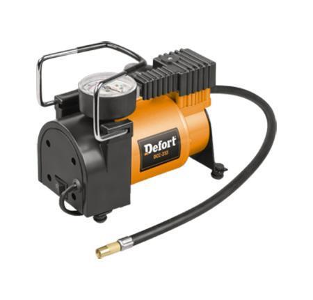 Компрессор автомобильный Defort. DCC-25598299762Автомобильный компрессор применяется для накачки автомобильных шин, мячей, надувных матрасов, велосипедных шин и т.д. Компрессор оснащен манометром и штекером для подключения к 12-вольтовому разъему прикуривателя автомобиля. Встроенная лампа работает в нескольких режимах. Для включения лампы и выбора нужного режима достаточно нажать несколько раз на рассеиватель лампы. В комплект к компрессору входит сумка-чехол, закрывающаяся на застежку-молнию, с удобной для переноски ручкой и насадка-переходник. Материал: пластик, металл, резина. Размер компрессора: 17 см х 8,5 см х 15,5 см. Напряжение бортовой сети автомобиля: 12 В. Мощность: 150 Вт. Производительность: 25 л/мин. Скорость холостого хода: 5000 об/мин. Максимальное давление: 7 бар. Вес: 1,6 кг.