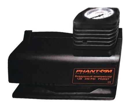 Компрессор воздушный Phantom PH2027, 85 Вт2027Воздушный компрессор Рhantom PН2027 мощностью 85 Вт может использоваться для накачивания различного спортивного оборудования от велосипедных шин до баскетбольных мячей. Особенности: Надежный поршневой двигатель; Ударопрочный корпус; Пониженный уровень шума; Механический манометр; Подключение в гнездо прикуривателя 12 В; Эргономичная конструкция с отсеками для хранения провода и шланга.