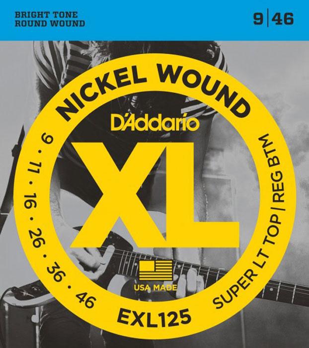 DAddario EXL125 струны для электрогитарыEXL125Daddario EXL125 - гибридный басовый комплект-бестселлер DAddario, включающий верхние струны из комплекта EXL120 (калибра .009) и нижние струны из комплекта EXL110 (калибра .046). В результате получился комплект, отличающийся сильным основным низовым звучанием и превосходной гибкостью на верхних струнах.Шестигранный корд Натяжение: Super Light Top/Regular Bottom