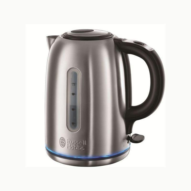 Russell Hobbs 20460-70 Buckingham электрический чайник20460-70 BuckinghamГладкий и современный чайник Buckingham от Russell Hobbs обладает технологией бесшумного закипания воды, которая снижает шум чайника при закипании воды до 75%* по сравнению со стандартным чайником. Это великолепный способ избавиться от вечной проблемы: мой чайник слишком шумит при закипании.Емкость чайника составляет 1.7 литра, что будет достаточно для приготовления 6 больших чашек, а система идеальный носик - perfect pour spout предотвратит нежелательные капли или расплескивание воды при наливании чашки. Чайник Buckingham вскипятит воду на одну чашку всего лишь за 50 секунд**.Изюминку в дизайн чайника добавляет голубое кольцо подсветки, которое в сочетании со стильным корпусом из матовой стали делает чайник Buckingham неотъемлемой частью вашего кухонного интерьера.