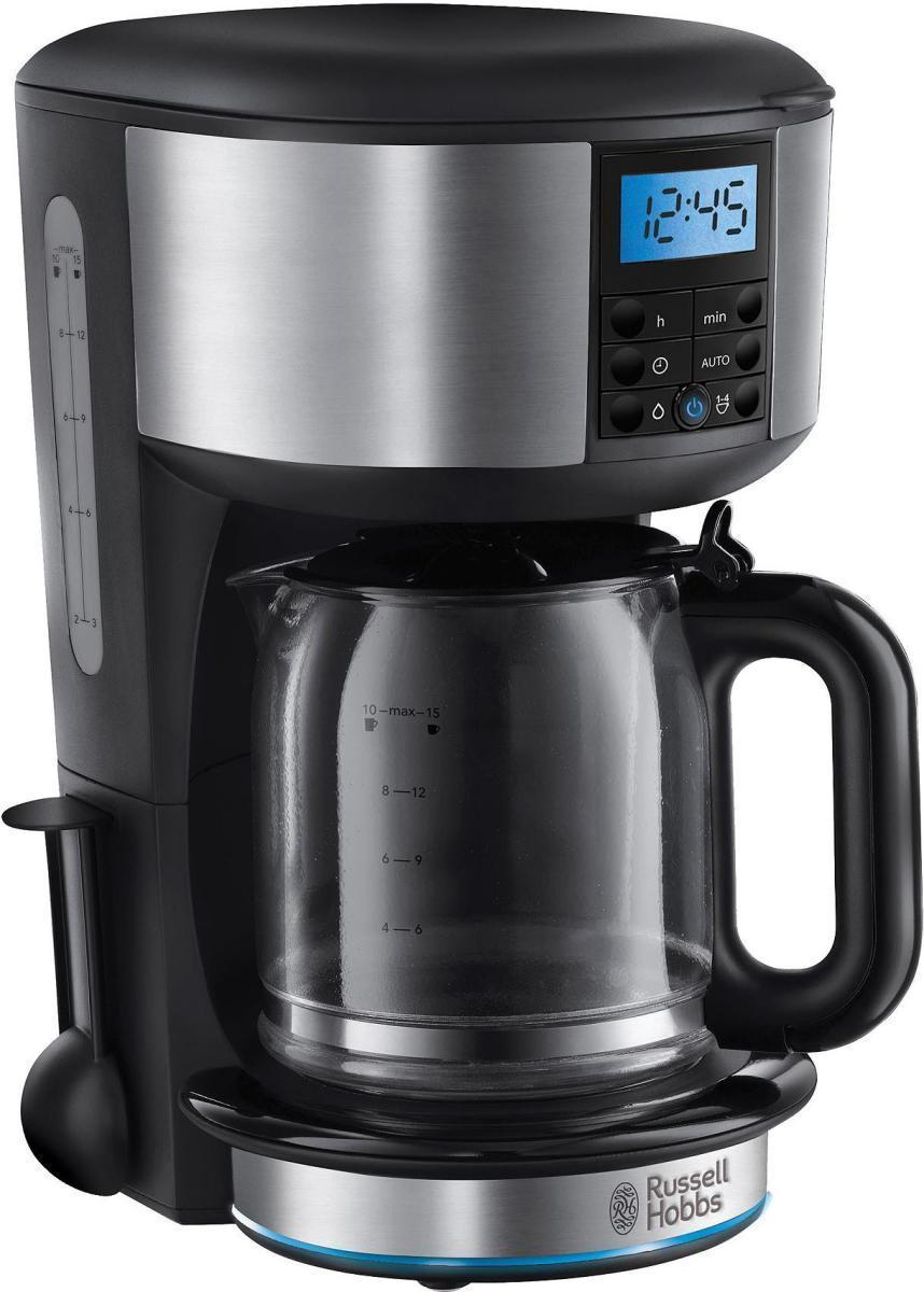 Russell Hobbs 20680-56 Buckingham кофеварка20680-56 BuckinghamЕсли вы цените настоящий вкус кофе, вам обязательно понравится вкус и аромат свежесваренного кофе, приготовленного в кофеварке Buckingham. Она достигает оптимальной температуры заваривания на 50%* быстрее и обладает улучшенной технологией экстрации кофе, что гарантирует максимально насыщенный вкус и аромат вашего напитка.Кофеварка обладает таймером с установками на 24 часа, что позволит вам приготовить чашку ароматного напитка к моменту вашего утреннего пробуждения или тогда, когда вы просто захотите. Световое кольцо на корпусе с голубой подсветкой индицирует режим заваривания кофе и поддержания тепла.Кроме того, кофеварка Buckingham невероятно стильная и компактная. Вы сможете приготовить до 10 чашек за один цикл заваривания, а емкость стеклянного кувшина составляет 1.25 литра. Однако, если вам не нужно столько, воспользуйтесь функцией выбора заваривания 2-4 чашек.
