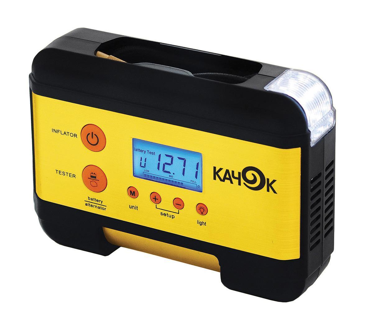 Компрессор автомобильный КАЧОК K60K60Технические характеристики компрессора автомобильного Качок К 60 Напряжение 12 В Допустимое напряжение: 10-13,5 В Максимальный ток потребления: 12 А Максимальное давление: 7 Атм. (кг/см2) Время непрерывной работы: не более 20 мин. Производительность: 35 л/мин. Рабочая температура: -30°С +40°С Тип мотора: Двигатель постоянного тока, коллекторного типа Размер устройства: 210х150х65 мм. Навинчивающаяся насадка на ниппель колеса Подключение в гнездо прикуривателя Насадки-штуцеры для надувных изделий 3шт. Яркий светодиодный фонарь - 2 режима работы Многофункциональный ЖК-дисплей Цифровой электронный манометр - 2 шкалы измерения Инструкция по эксплуатации Комплект поставки: Компрессор Качок К 60 Набор переходных штуцеров для надувных изделий - 3 шт. Инструкция по эксплуатации Упаковочная коробка Материал: металл, пластик; цвет: желтый Материал: металл, пластик; цвет: желтый