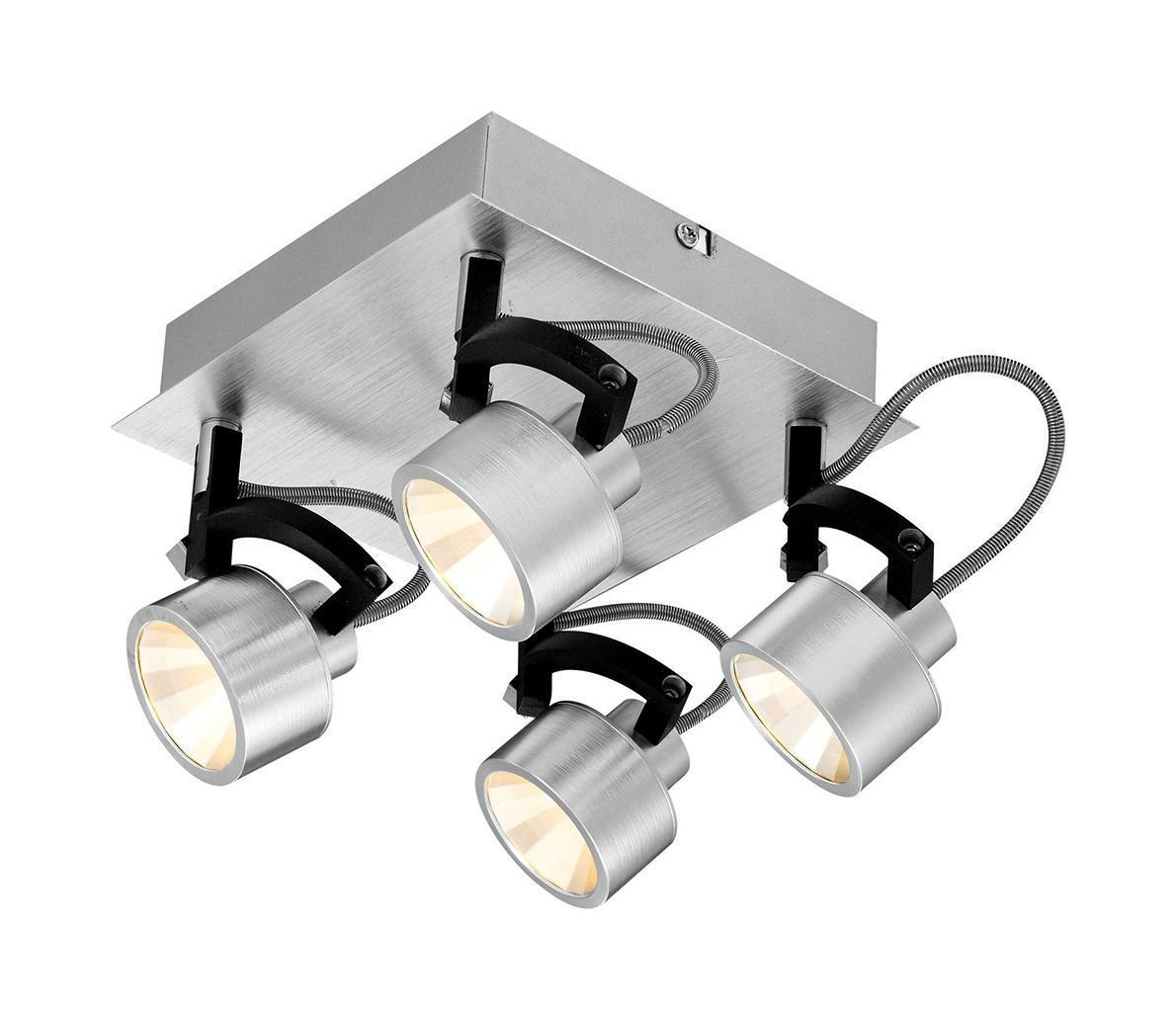 56947-4 Настенно-потолочный светильник HALEY56947-4Спот Globo 56947-4 из серии HALEY – потолочный светильник в стиле техно на металлической основе с пластиковыми плафонами Материал: Арматура: Металл/Плафон: Металл Цвет: Арматура: Серебристый/Плафон: Серебристый Размер: 18х18х15