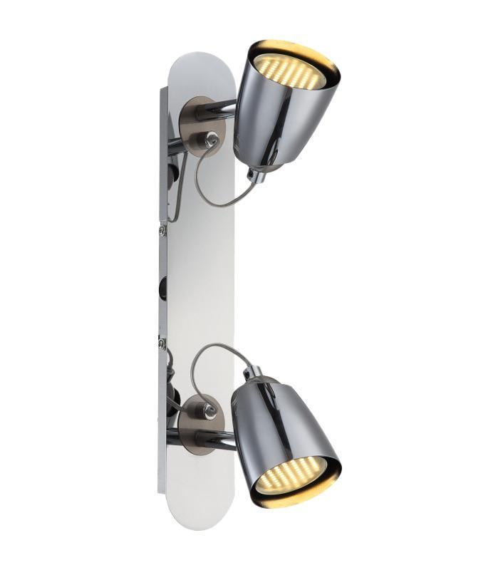 57604-2 TAMAS Спот57604-2Споты TAMAS 57604-2 в стиле модерн создают теплую, простую и уютную обстановку, отлично впишутся в дизайн спальни. Металлическое основание серого цвета отлично сочетается с плафоном из металла. Точечный светильник с максимальной мощностью 100W осветит комнату, площадью 7 кв.м. Материал: Арматура: Металл / Плафон: Металл Цвет: Арматура: Серебристый / Плафон: Серебристый Размер: 35х6,5х10