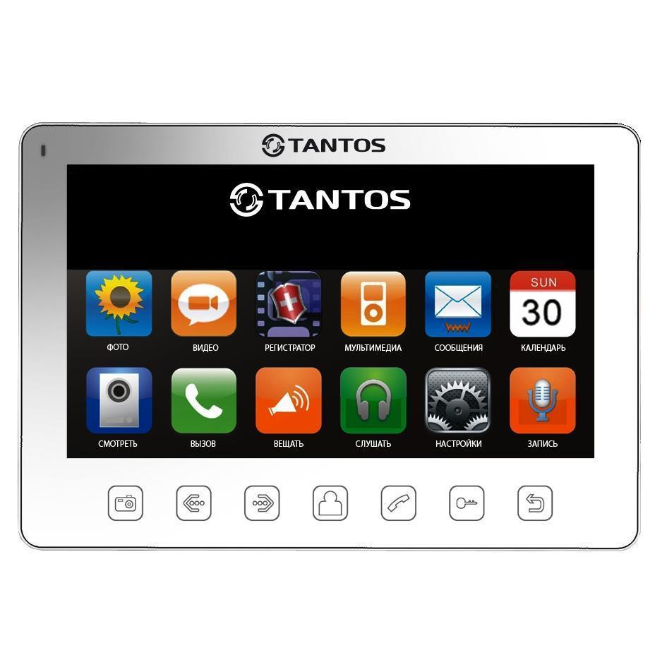 Tantos Prime Slim, White монитор видеодомофона00-00016193Дизайн монитора 7 дюймов прост и изящен, кнопочный джойстик позволяет общаться с монитором, как с сотовым телефоном. Значки меню выполнены подобно значкам меню iPhone