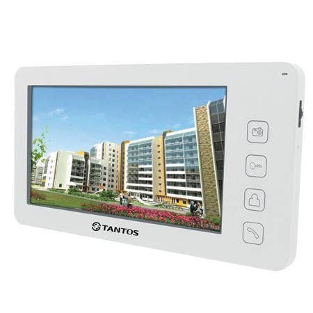 Tantos Prime +, White монитор домофона00-00014350Монитор цветного видеодомофона сенсорными кнопками, расширенными возможностями и подключением к телефонной линии для переадресации вызовов. Значки меню выполнены подобно значкам меню iPhone. Особенности: Подключение 2-х вызывных панелей и 2-х видеокамер Возможность подключения до 4-х мониторов в одной системе с широкими возможностями адресного интеркома Возможность работы как в индивидуальном, так и в многоквартирном режиме. Совместимость с большинством моделей отечественных вызывных панелей Голосовая почта, фоторамка, встроенный видеорегистратор (детектор движения на 1 канал) Возможность переадресации вызова на телефон. Возможность установки мелодии в формате MP3 в качестве сигнала вызова (в прошивках выше 3.10)