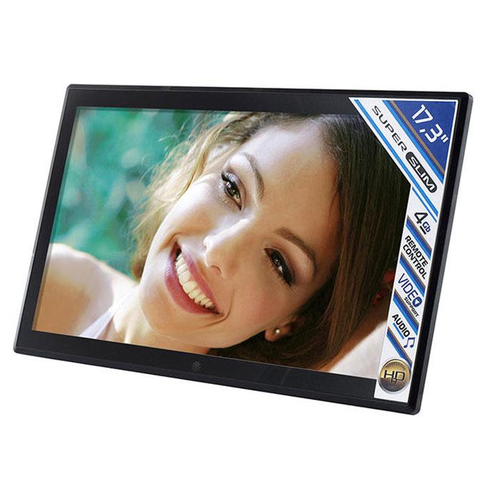 Rekam VisaVis L-170 цифровая рамкаL-170VisaVis L-170 – цифровая рамка с большим экраном (17,3), в стильном, тонком корпусе. Благодаря поддержке самых распространенных мультимедийных форматов фоторамку можно использовать для трансляции видеороликов. Звук может выводиться через наушники или встроенные динамики. 4 ГБ встроенной памяти хватает для хранения большого объема данных. При необходимости встроенную память можно расширить за счет съемных карт памяти (макс. объем карты 32 ГБ). Конструкция рамки позволяет установить ее на столе, или повесить на стену. Высокое разрешение экрана (1600x900), позволяет изображению отлично выглядеть вблизи, и на расстоянии. Пульт дистанционного управления делает работу с устройством очень удобной. Режим слайд-шоу с большим набором эффектов, из любого фото архива сделает яркую презентацию.