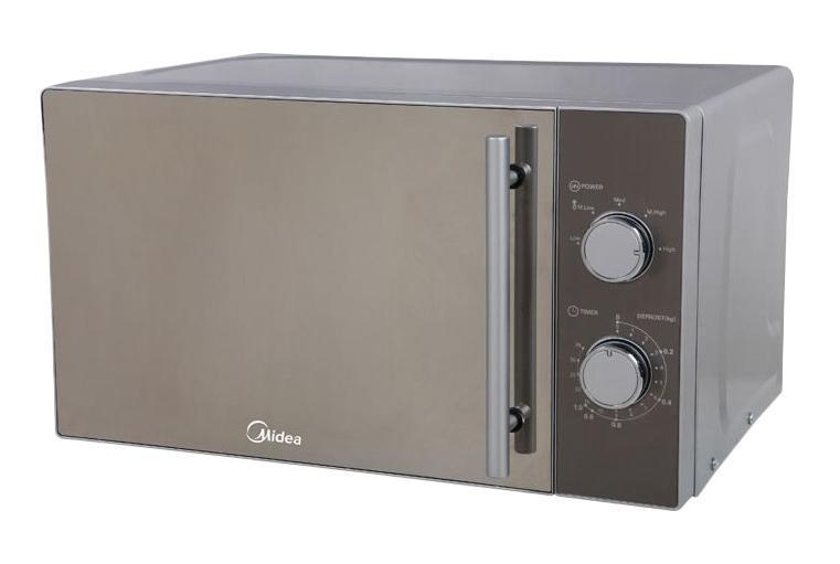 Midea MM720CMF микроволновая печьME-81MRTSСВЧ Midea MM720CMF сочетает в себе простоту управления и функциональность. Эмалированное покрытие внутренней части легко чистится от жира и остатков пищи, не оставляя пятен и разводов.Микроволновая печь СВЧ Midea MM720CMF оснащена функцией размораживания продуктов перед приготовлением. Необычный дизайн с использованием серебристого цвета хорошо смотрится на современной кухне и сочетается с остальными бытовыми приборами.