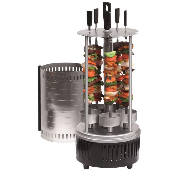 Maxima MBQ-0251 электрошашлычницаMBQ-0251Электрошашлычница Maxima MBQ-0251 с вертикальным расположением шампуров предназначена для использования в бытовых условиях и представляет устройство для приготовления шашлыка и других мясных блюд. Электрошашлычница имеет цилиндрическую форму. В центральной части расположен нагревательный элемент, в нижней - привод шампуров. Пять вращающихся шампуров с чашами для стекания жира и защитный металлический кожух обеспечивают равномерное обжаривание со всех сторон. В комплект также входит 5 шампуров.