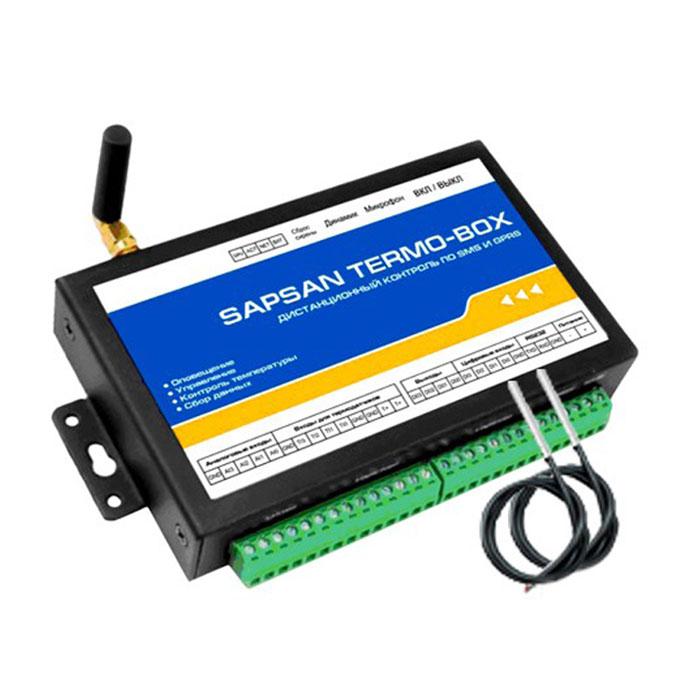 Sapsan Termo-Box GSM-сигнализацияTERMO-BOX 2ТДИнтеллектуальная система охраны с функцией контроля температуры Sapsan Termo-Box предназначена для дистанционного контроля и охраны объектов недвижимости (домов, офисов, складов). 4 цифровых входа (проводные зоны) позволяют подключать до 40 проводных датчиков на каждую. При этом каждая зона позволяет настроить тип сработки датчиков подключаемых к ней НЗ/НО. Сработки проводных датчиков передаются на заранее записанные в память устройства номера абонентов (10 номеров) в виде текстовых сообщений. 4 аналоговых входа, позволяют подключать датчики для осуществления контроля влажности,температуры, тока или напряжения, а также для контроля других изменяющихся величин. Помимо подключения датчиков работа которых основана на изменении параметров тока либо напряжении, в аналоговым входам можно подключать обычные проводные датчики через сопротивление. 4 входа для температурных датчиков позволяют осуществлять контроль температуры в широком диапазоне (-...
