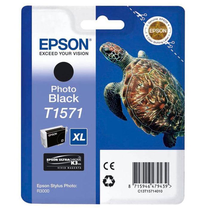 Epson T1571 XL (C13T15714010), Photo Black картридж для Stylus Photo R3000C13T15714010Картридж с чернилами Epson T157 XL для струйных принтеров.