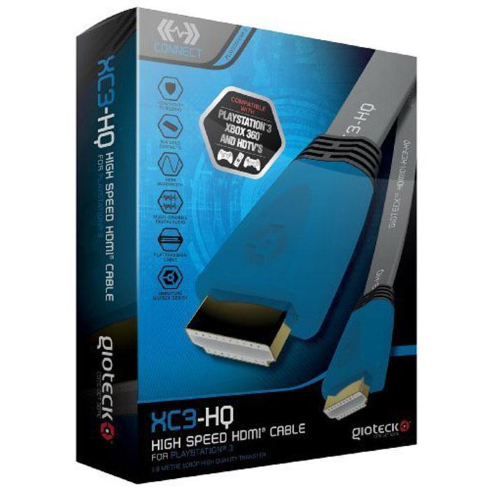 Gioteck XC3-HQ кабель HDMI высокоскоростной плоский, Blue 1.8 м1CSC20000695Gioteck XC-3-HQ - высокоскоростной кабель HDMI с поддержкой сигнала 1080p для PS3. Благодаря высокому качеству и широкой полосе пропускания этот кабель позволяет повысить четкость текстур и реалистичность теней. Надежное экранирование Контакты из 24-каратного золота Многоканальный цифровой звук